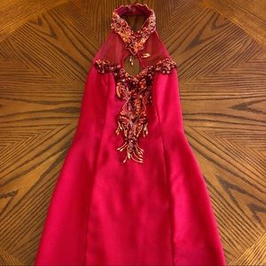 LA GLO Vintage Red Beaded Homecoming Dress